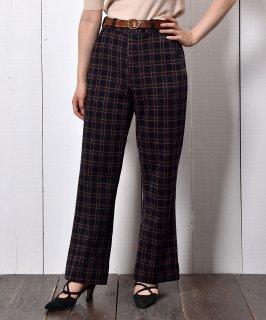 古着ストレートシルエット 織り柄 ポリパンツ Woven Pattern Polyester Straight Pants 古着のネット通販 古着屋グレープフルーツムーン
