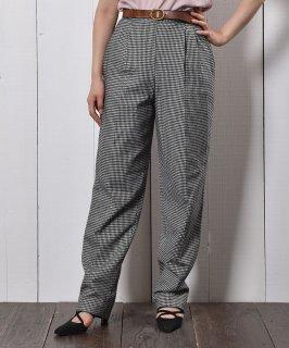 古着アメリカ製 千鳥格子 センタープレス ウールタックパンツ  Made in USA Wool Check Tuck Pants 古着のネット通販 古着屋グレープフルーツムーン