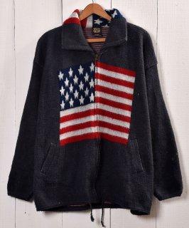 古着星条旗柄 ジャガード ニットジャケット|The Stars and Stripes Jaguard Knit Jacket 古着のネット通販 古着屋グレープフルーツムーン