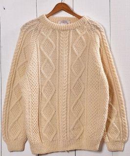 古着アイルランド製 フィッシャーマン セータ— アイボリー アラン編み| Made in Ireland Fishierman Knit Sweater Ivory 古着のネット通販 古着屋グレープフルーツムーン