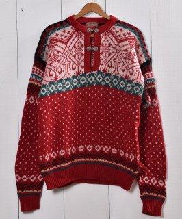 古着ウール  セーター ノルディック柄 レッド |Wool Knit Sweater Red 古着のネット通販 古着屋グレープフルーツムーン