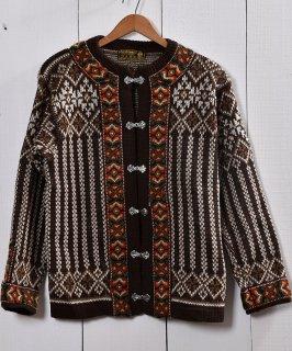 古着ノルウェー製 ウール  セーター ノルディック柄 ブラウン |Made in Norway Wool  Knit Sweater Brown 古着のネット通販 古着屋グレープフルーツムーン