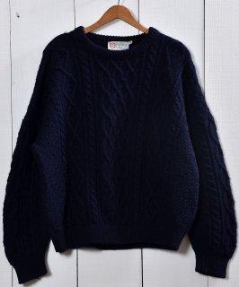 古着アイルランド製 フィッシャーマン セータ— ネイビー アラン編み| Made in Ireland Fishierman Knit Sweater Navy 古着のネット通販 古着屋グレープフルーツムーン