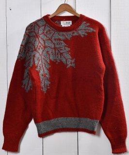 古着雪柄ジャガード ウール セーター レッド|Snow Pattern Jacquard Sweater Red 古着のネット通販 古着屋グレープフルーツムーン