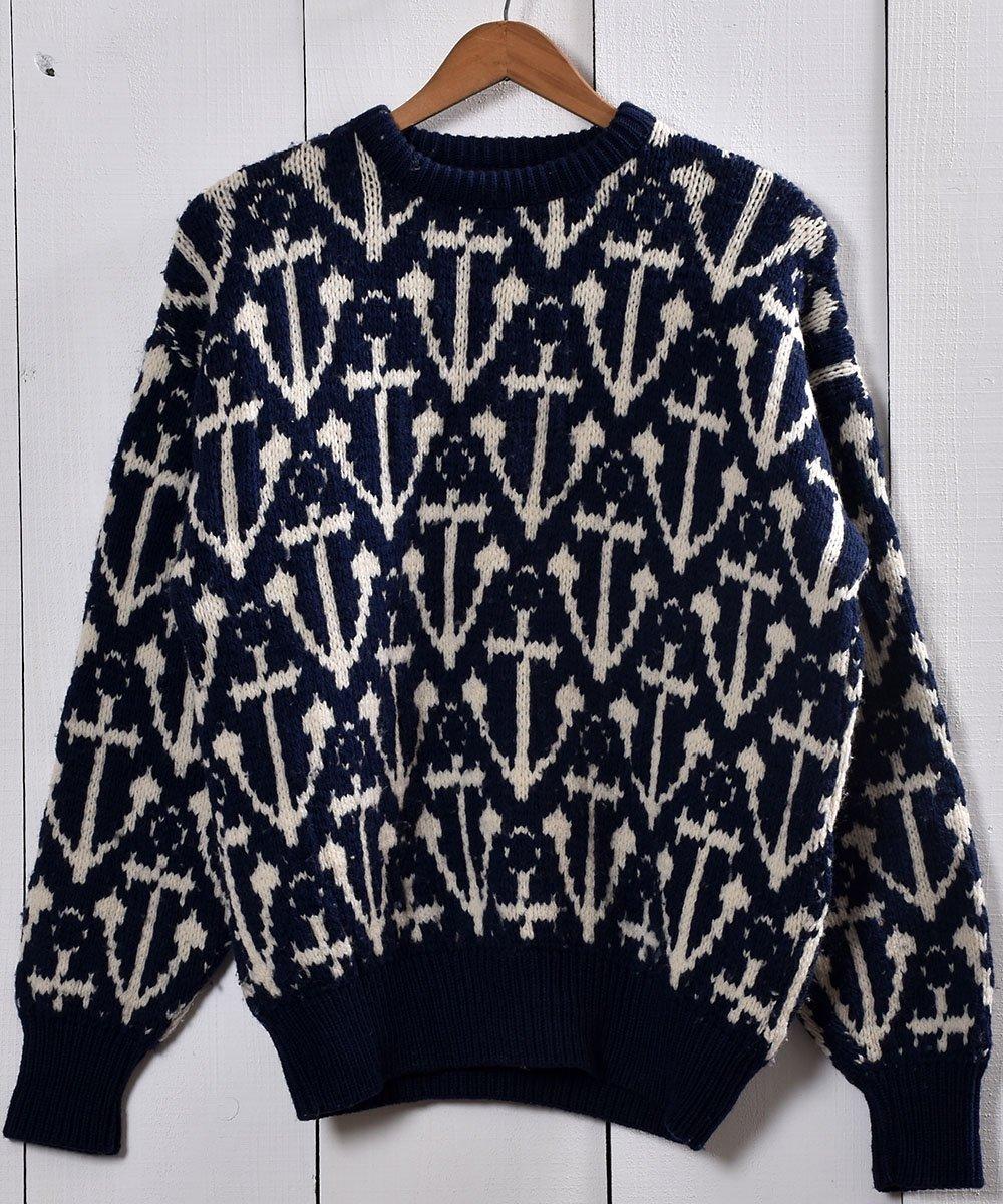 古着 アンカー柄 ジャガード ウール セーター ネイビー|Anchor Pattern Jacquard Sweater Navy 古着 ネット 通販 古着屋グレープフルーツムーン