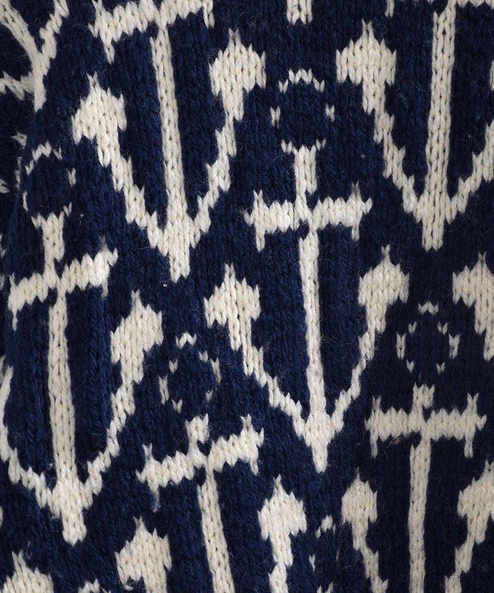 アンカー柄 ジャガード ウール セーター ネイビー|Anchor Pattern Jacquard Sweater Navyサムネイル