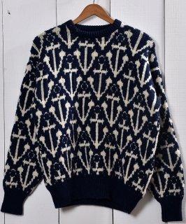 古着アンカー柄 ジャガード ウール セーター ネイビー|Anchor Pattern Jacquard Sweater Navy 古着のネット通販 古着屋グレープフルーツムーン