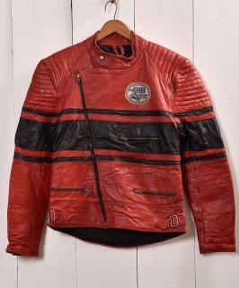 古着パデッド ライダースジャケット UKライダース レッド×ブラック|Red×Black Padded Motorcycle Jacket   古着のネット通販 古着屋グレープフルーツムーン
