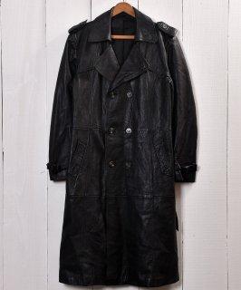 古着ブラック レザー 切り替え ロングコート |Black Leather Patchwork Long Coat    古着のネット通販 古着屋グレープフルーツムーン