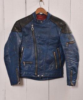 古着パデッド ライダースジャケット UKライダース ブルー×ブラック|Blue×Black Padded Motorcycle Jacket   古着のネット通販 古着屋グレープフルーツムーン
