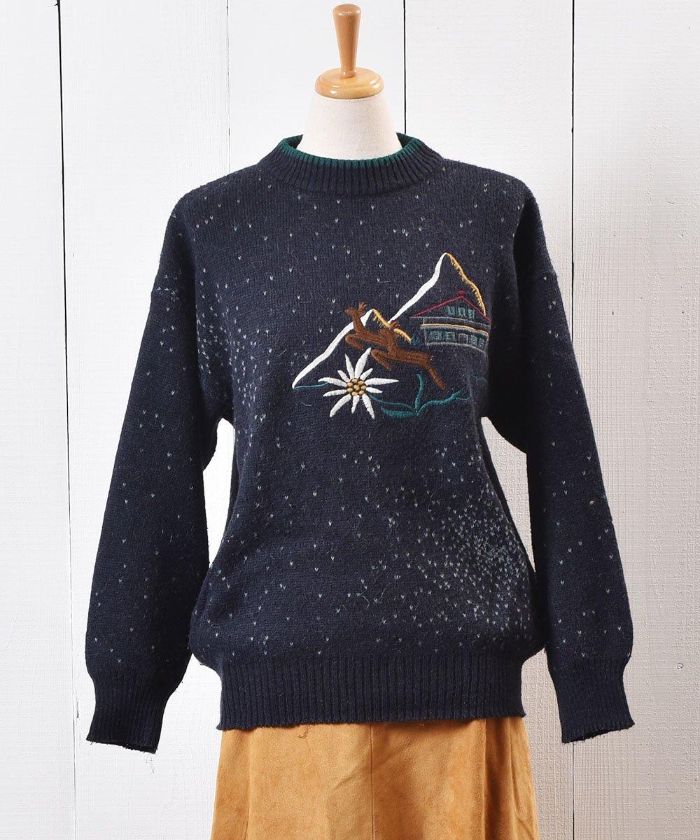 """古着 ヨーロッパ製 トナカイ  刺繍 セーター ネイビー """"Made in Europe"""" Reindeer Embroidery Sweater Navy 古着 ネット 通販 古着屋グレープフルーツムーン"""