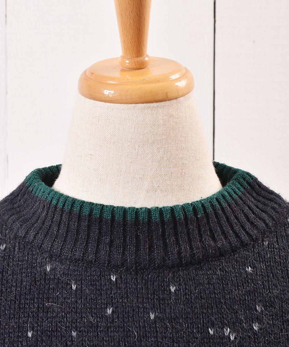 """ヨーロッパ製 トナカイ  刺繍 セーター ネイビー """"Made in Europe"""" Reindeer Embroidery Sweater Navyサムネイル"""
