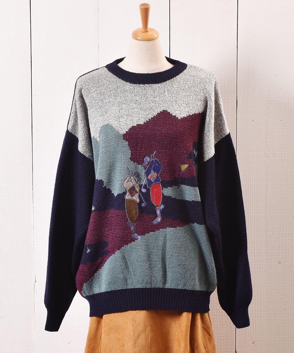 """古着 ヨーロッパ製 ゴルフ パッチ セーター グレー """"Made in Europe"""" Play Golf Patch Sweater Gray 古着 ネット 通販 古着屋グレープフルーツムーン"""