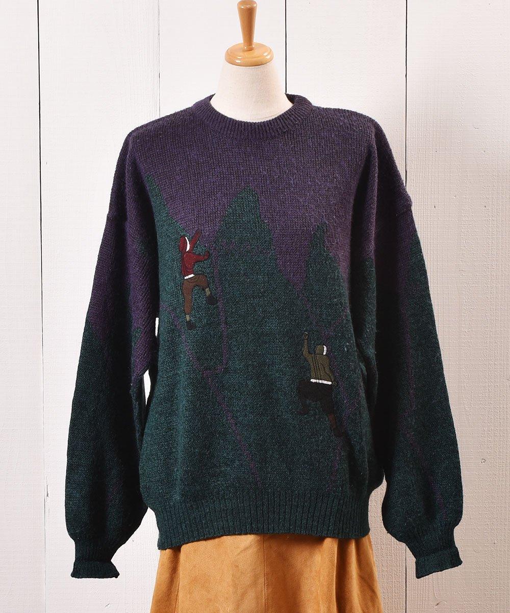 """古着 ヨーロッパ製 クライミング パッチ セーター """"Made in Europe"""" Climbing Patch Sweater 古着 ネット 通販 古着屋グレープフルーツムーン"""