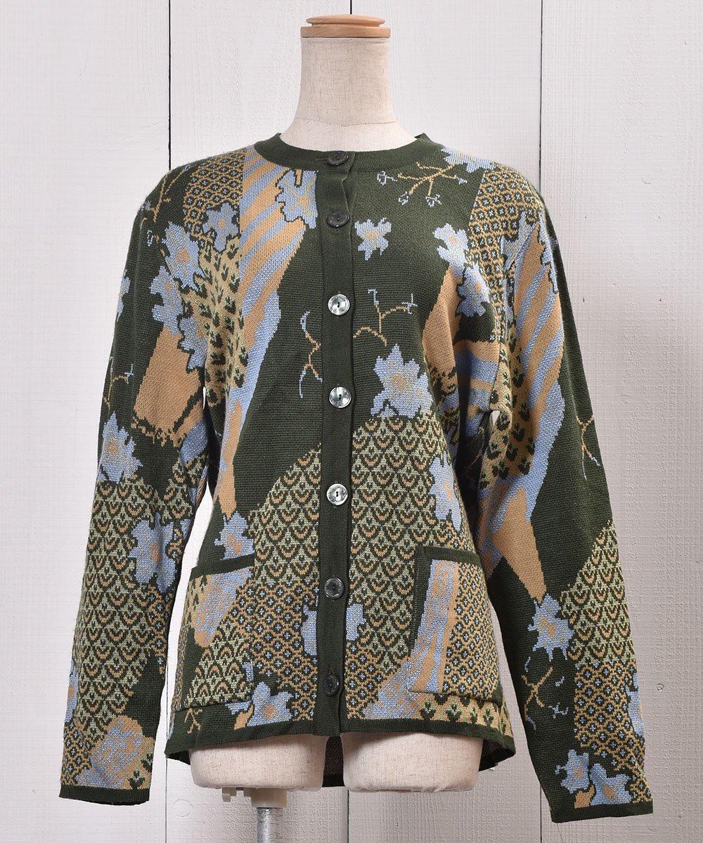 古着 総柄 ニット カーディガン |Knit Cardigan Abstract Pattern 古着 ネット 通販 古着屋グレープフルーツムーン
