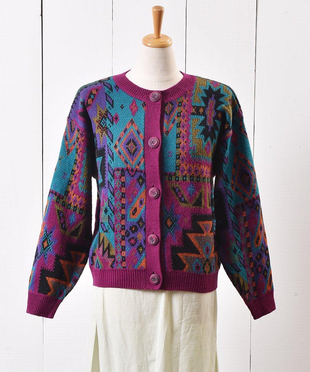 古着 幾何学模様 ニット セーター 飾りボタン| Knit Sweater Geometric Pattern 古着 ネット 通販 古着屋グレープフルーツムーン