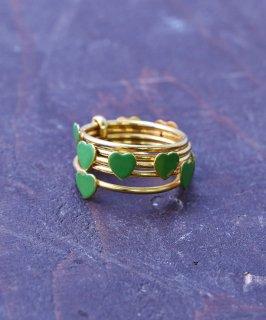 古着ヨーロッパ製 ハート 5連 ゴールドカラーリング グリーン|Made in Europe Gold Color Ring Heart Green 古着のネット通販 古着屋グレープフルーツムーン