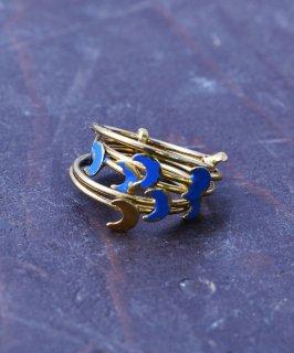 古着ヨーロッパ製 ムーン 5連 ゴールドカラーリング ブルー |Made in Europe Gold Color Ring Moon Blue 古着のネット通販 古着屋グレープフルーツムーン
