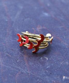 古着ヨーロッパ製 ムーン 5連 ゴールドカラーリング レッド|Made in Europe Gold Color Ring Moon Red 古着のネット通販 古着屋グレープフルーツムーン