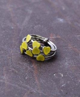 古着ヨーロッパ製 ハート 5連 ゴールドカラーリング イエロー|Made in Europe Gold Color Ring Heart Yellow 古着のネット通販 古着屋グレープフルーツムーン