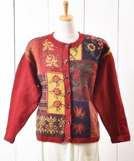 古着アメリカ製 パッチワーク風 ニット カーディガン チェック&フラワー|Made in USA Knit Cardigan Check&Flower 古着のネット通販 古着屋グレープフルーツムーン