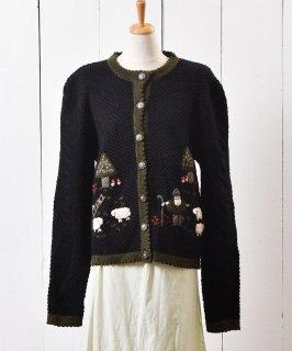 古着アニマル柄 ウール カーディガン |Animal Pattern Cardigan  古着のネット通販 古着屋グレープフルーツムーン