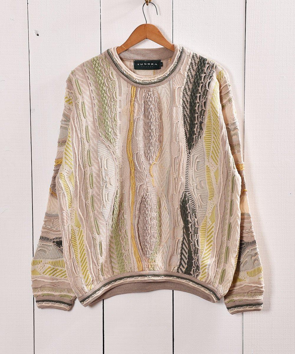 古着 カナダ製 クージー風 コットン素材3Dニット|Made in Canada 3D Cotton Knit 古着 ネット 通販 古着屋グレープフルーツムーン