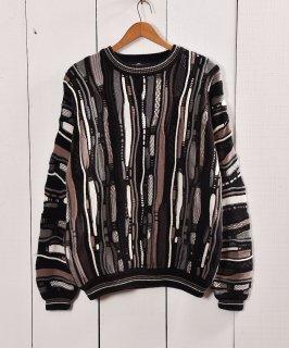 古着 クージー風 コットン素材3Dニット ダークカラー|Dark Color 3D Cotton Knit 古着のネット通販 古着屋グレープフルーツムーン