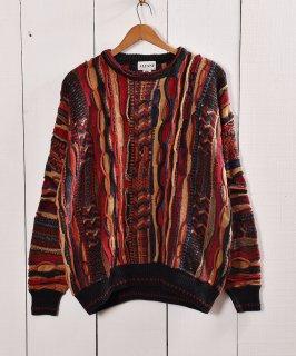 古着ヨーロッパ製クージー風 3Dニット セーター |Made in Bulgaria 3D Knit 古着のネット通販 古着屋グレープフルーツムーン