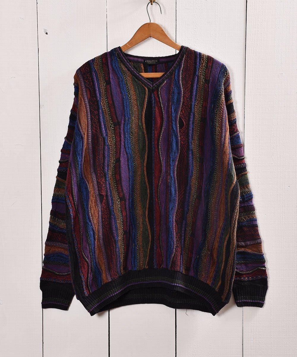 古着 クージー風 3Dニット コットン素材 Vネックセーター  |V neck Cotton 3D Knit 古着 ネット 通販 古着屋グレープフルーツムーン