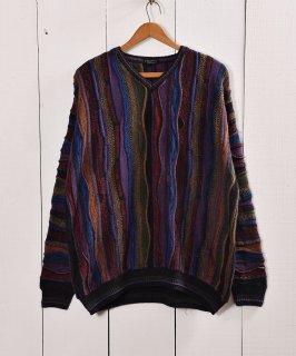 古着クージー風 3Dニット コットン素材 Vネックセーター  |V neck Cotton 3D Knit 古着のネット通販 古着屋グレープフルーツムーン