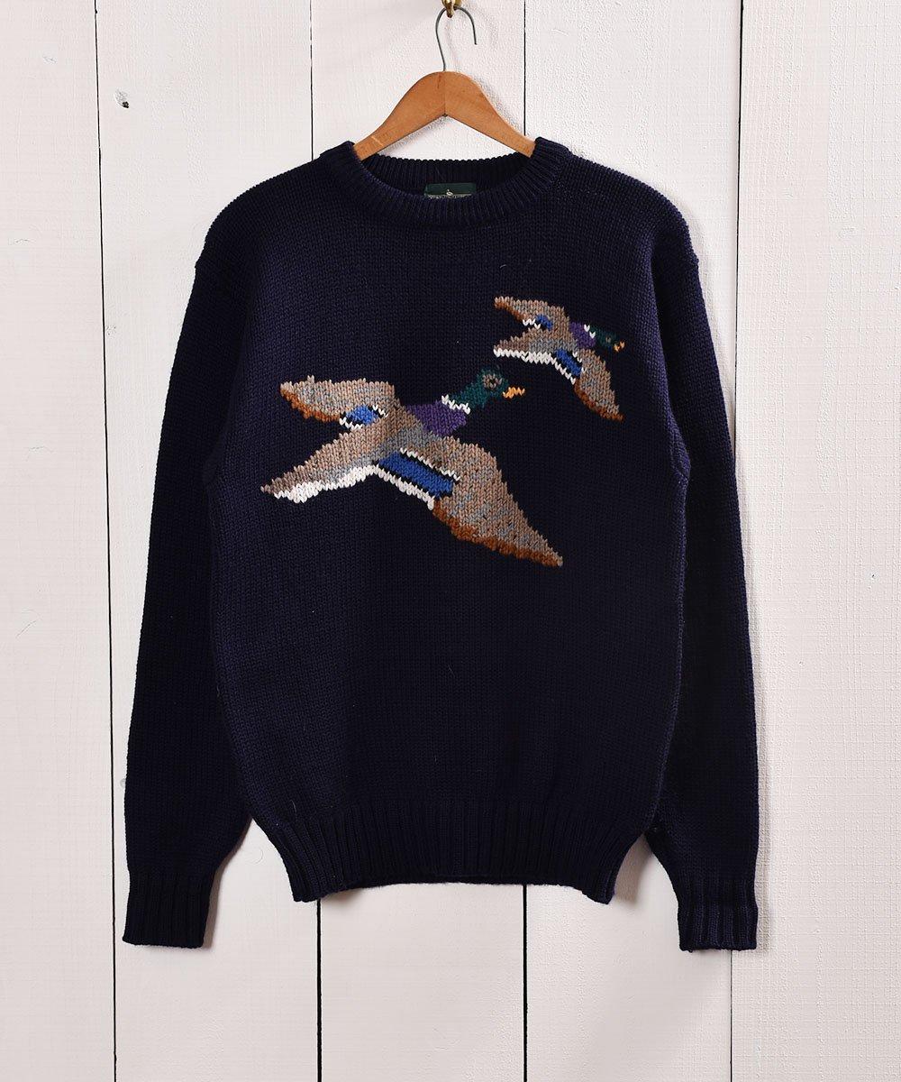 古着 鴨柄 ハンティング風 ローゲージニット  Duck Design Low-Gauge Knit 古着 ネット 通販 古着屋グレープフルーツムーン
