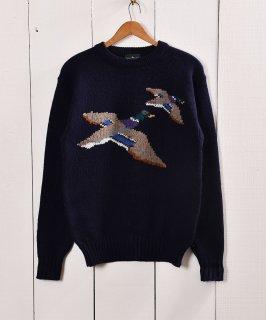 古着鴨柄 ハンティング風 ローゲージニット |Duck Design Low-Gauge Knit 古着のネット通販 古着屋グレープフルーツムーン