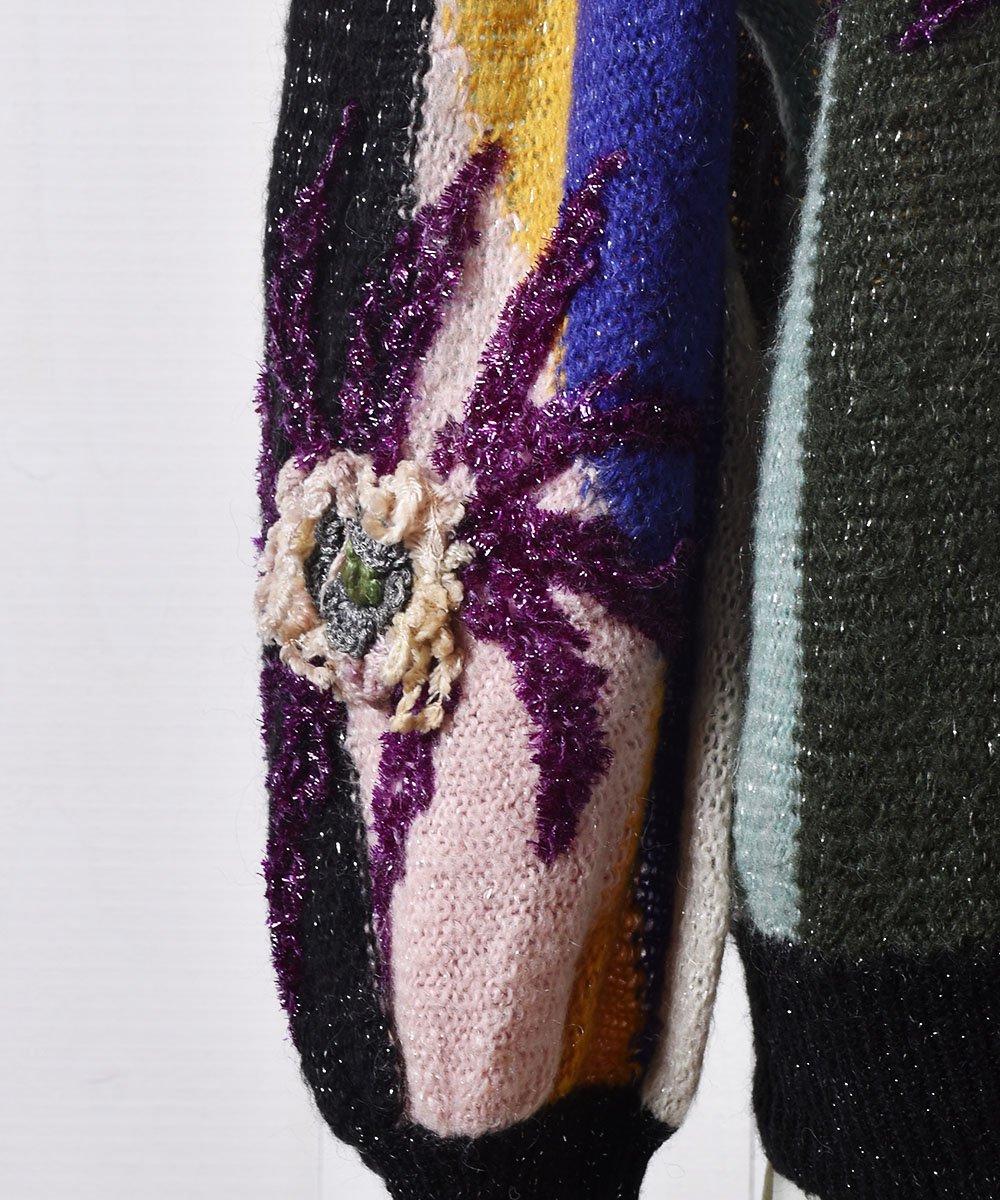 ヨーロッパ製 花モチーフ付き ラメニット カーディガン|Made in Euro Flower Motif Design Cardiganサムネイル