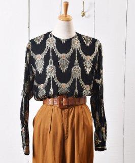 古着ラメ シースルー オーナメント柄 プルオーバー トップス Lame See-through Ornament Pattern Pullover Tops 古着のネット通販 古着屋グレープフルーツムーン