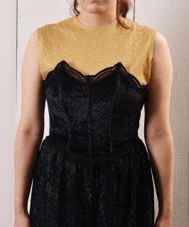 古着ブラック ベロア×レース ブラトップ  Velor Lace Bra Tops  古着のネット通販 古着屋グレープフルーツムーン