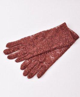 古着【2色展開】レース グローブ 花柄 ブラウン Lace Glove Flower Brown 古着のネット通販 古着屋グレープフルーツムーン