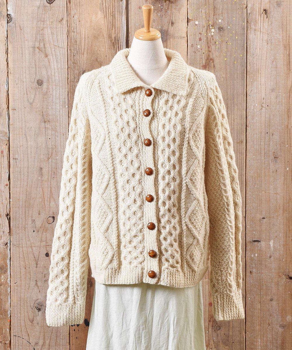 古着 フィッシャーマン ニット カーディガン 木目風ボタン Fisherman Knit Cardigan Imitation Wood Button 古着 ネット 通販 古着屋グレープフルーツムーン