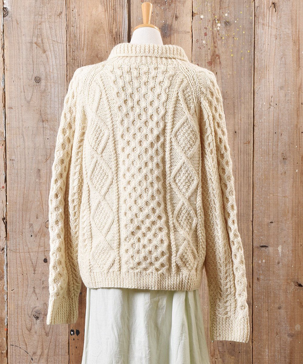 フィッシャーマン ニット カーディガン 木目風ボタン Fisherman Knit Cardigan Imitation Wood Buttonサムネイル