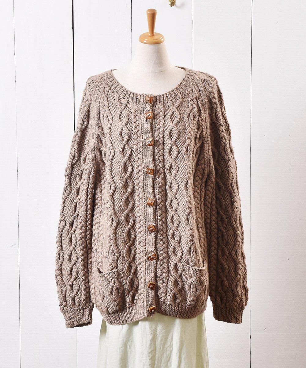 古着 ケーブル ニット カーディガン ミックスネップ 木目ボタン Cable Knit Cardigan Mix Nep Wood Button 古着 ネット 通販 古着屋グレープフルーツムーン