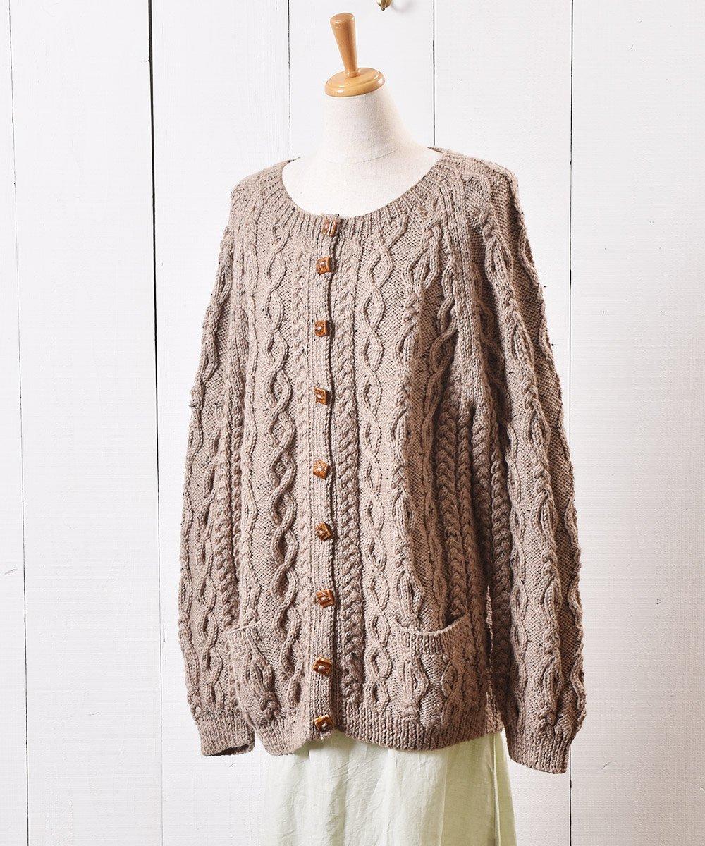 ケーブル ニット カーディガン ミックスネップ 木目ボタン Cable Knit Cardigan Mix Nep Wood Buttonサムネイル
