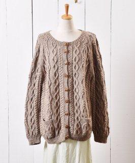 古着ケーブル ニット カーディガン ミックスネップ 木目ボタン|Cable Knit Cardigan Mix Nep Wood Button 古着のネット通販 古着屋グレープフルーツムーン