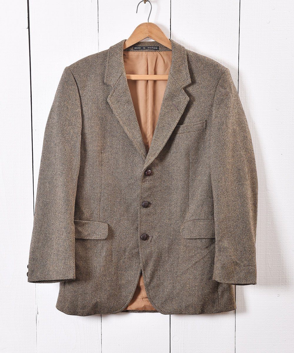 古着 イングランド製 ヘリンボーン ツイード テーラードジャケット|Herringbone Tweed Tailored Jacket Brown 古着 ネット 通販 古着屋グレープフルーツムーン
