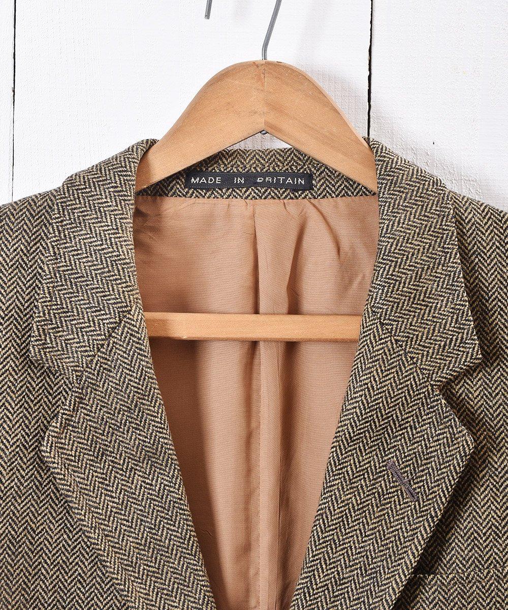 イングランド製 ヘリンボーン ツイード テーラードジャケット|Herringbone Tweed Tailored Jacket Brownサムネイル