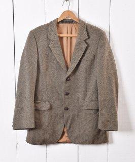古着イングランド製 ヘリンボーン ツイード テーラードジャケット|Herringbone Tweed Tailored Jacket Brown 古着のネット通販 古着屋グレープフルーツムーン