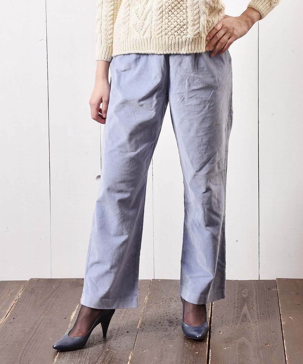 古着 コーデュロイ イージーパンツ 無地 サックスブルー|Easy Pants Plain Corduroy Sax-blue 古着 ネット 通販 古着屋グレープフルーツムーン