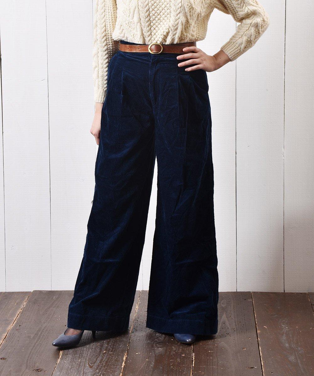 コーデュロイ ワイドパンツ 無地 ネイビー|Wide Pants Plain Corduroy Navyサムネイル