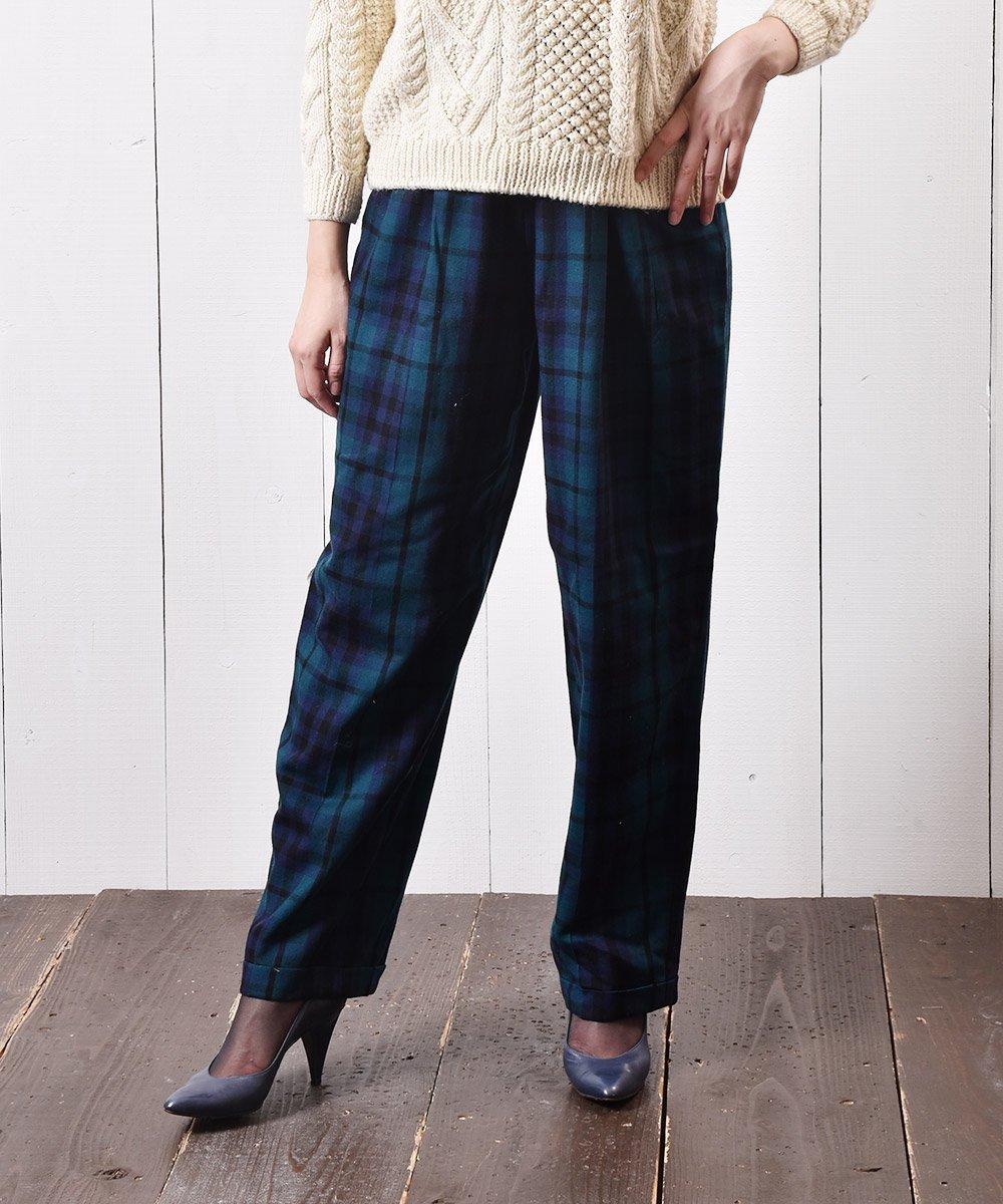 古着 アメリカ製 ウールパンツ ブラックウォッチ Made in USA Wool Pants Black-watch  古着 ネット 通販 古着屋グレープフルーツムーン
