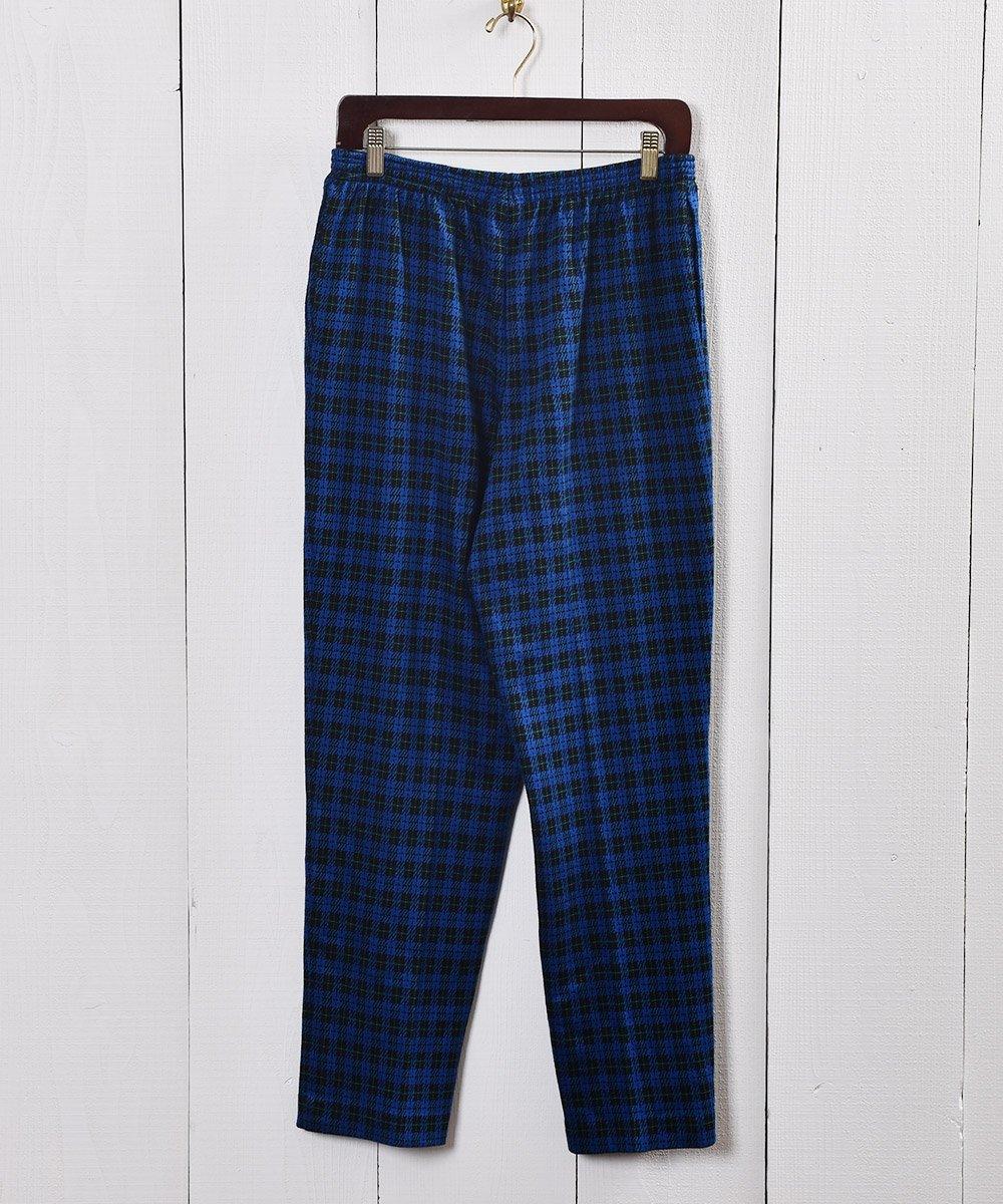 古着 ブルー×ブラック チェック柄 イージーパンツ|Blue ×Black Check Pattern Easy Pants  古着 ネット 通販 古着屋グレープフルーツムーン