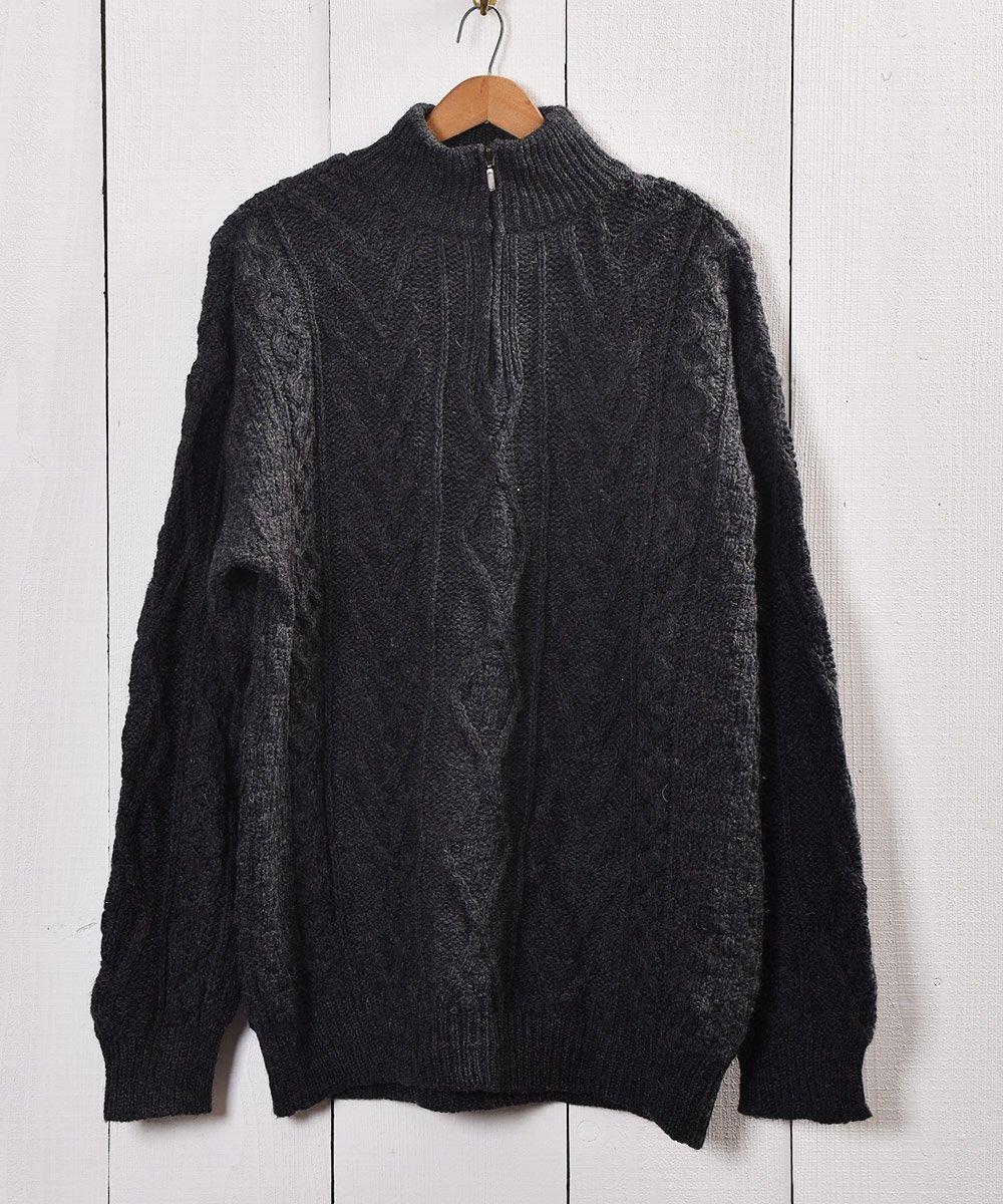 古着 アイルランド製  ケーブルニット ジップセーター Made in Ireland Cable Knit Zip-sweater   古着 ネット 通販 古着屋グレープフルーツムーン